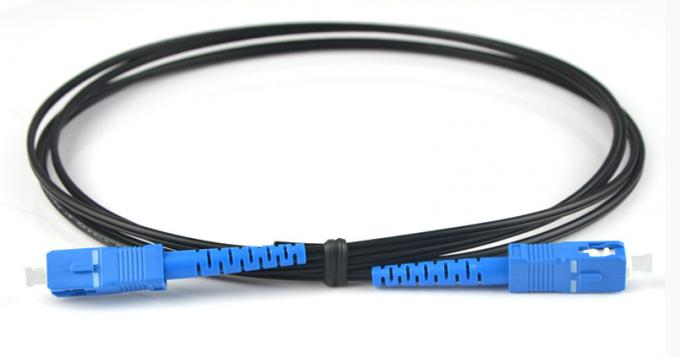 SC / UPC  - SC / UPC Single Mode Simplex FTTH Fiber Optic Patch Cord Black Cover