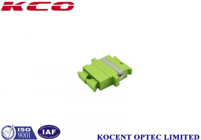 Green Fiber Optic Adapter SC/UPC With Flange, With Dust Cap, Duplex