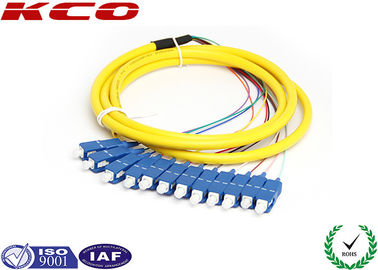China SC/UPC 12 fibers fanout fiber optic pigtail single mode mono mode optical pigtail 2.5m supplier