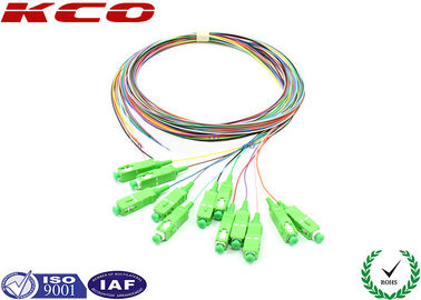 China SC/APC 12 fibers colors multi-fibers single mode monomode optical fiber pigtail 1.5m LSZH supplier