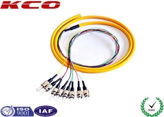 China ST/UPC single mode 9/125 fiber optic fanout pigtails 8 cores fibers fo 2m supplier