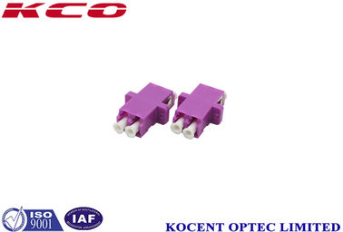 China Purple OM4 LC Fiber Optic Adapter With Flange High Precision Alignment supplier