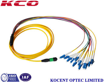 China Single Mode Breakout Fiber Optic Cable MPO/APC To 12 LC/UPC OS2 G652D 2.0mm PVC supplier