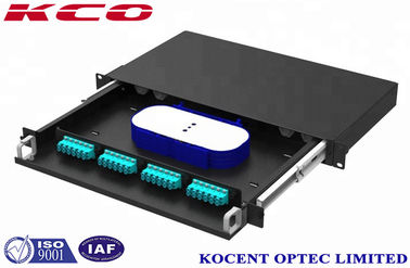 China 48 Port LC OM4 Fiber Optic Rack Mount Patch Panels Type 1U Metalic Black Steel Material supplier