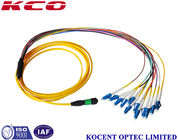 China Single Mode Breakout Fiber Optic Cable MPO/APC To 12 LC/UPC OS2 G652D 2.0mm PVC factory
