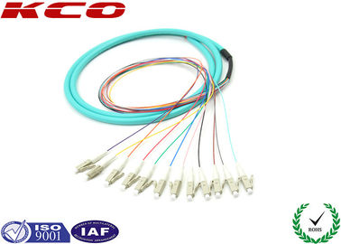 China Fan Out LC OM3 Fibre Optic Cable Pigtail 3m LSZH Multi Fibers 12 Cores distributor