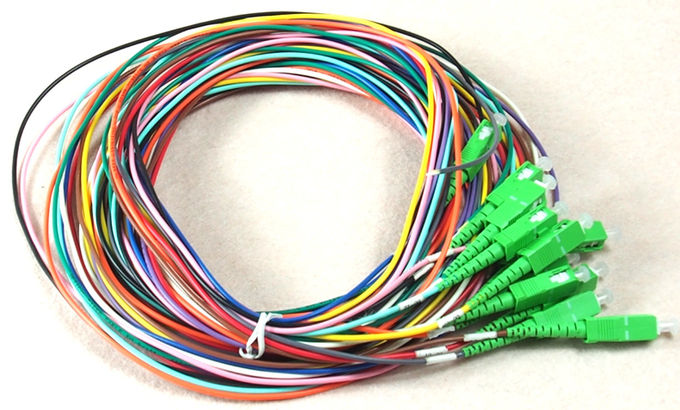 SC/APC 12 fibers colors multi-fibers single mode monomode optical fiber pigtail 1.5m LSZH